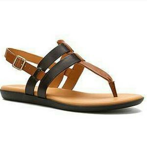 Kork-ease Women's black and brown strappy sandal